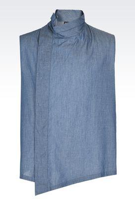 Armani Camicie senza maniche Uomo camicia in tela di cotone con collo alto