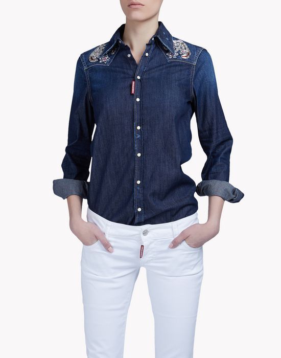 embroidered denim shirt shirts Woman Dsquared2
