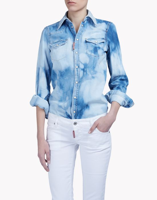 bleached denim shirt shirts Woman Dsquared2