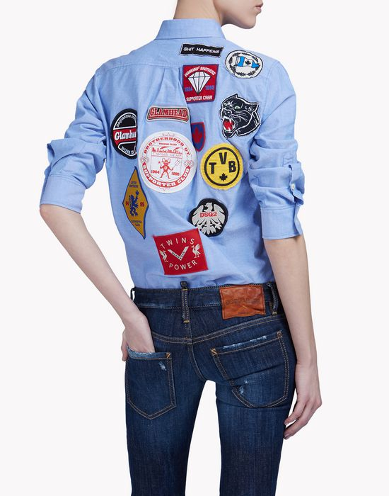 patch button down shirt camicie Donna Dsquared2