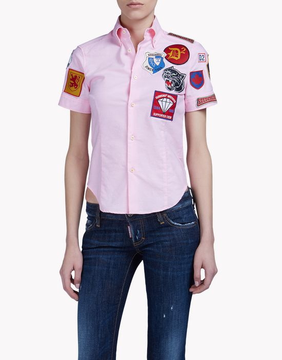 patch button down t-shirt shirts Woman Dsquared2