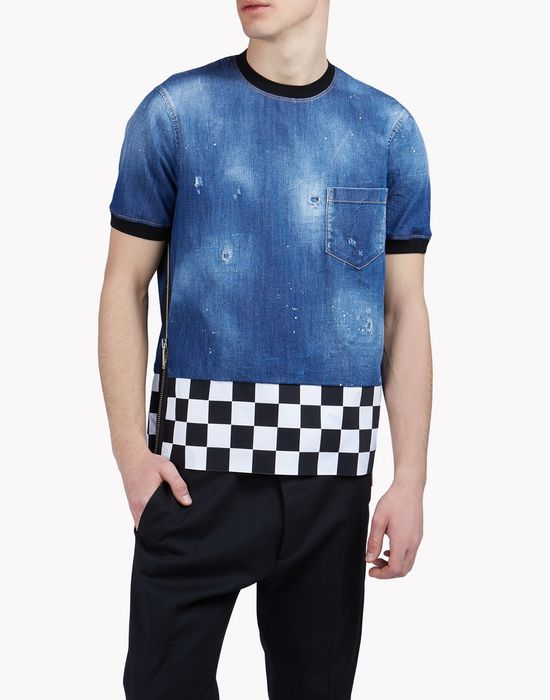 denim checkerboard shirt tops & tees Man Dsquared2