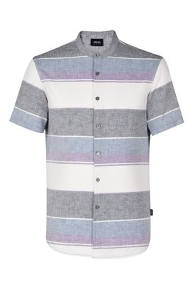 Armani Short sleeve shirts Men short-sleeved striped cotton and linen shirt