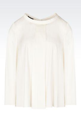 Armani Camicie Donna casacca in seta girocollo con maniche a tre quarti