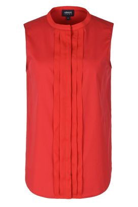 Armani Camicie senza maniche Donna camicia smanicata in popeline di cotone