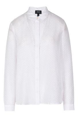 Armani Camicie maniche lunghe Donna camicia in cotone e seta trasparente