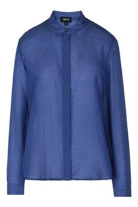 Armani Camicie maniche lunghe Donna camicia in seta e cotone con pois tono su tono