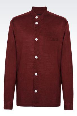 Armani Camicie Uomo camicia in cotone e lino con collo alla coreana