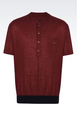 Armani Camicie Uomo camicia in lino e cotone con collo a v