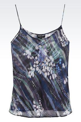Armani Camicie Donna top in pura seta con spalline sottili
