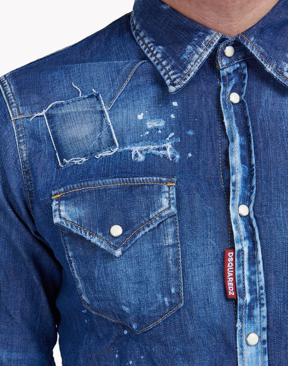 patch denim shirt shirts Man Dsquared2