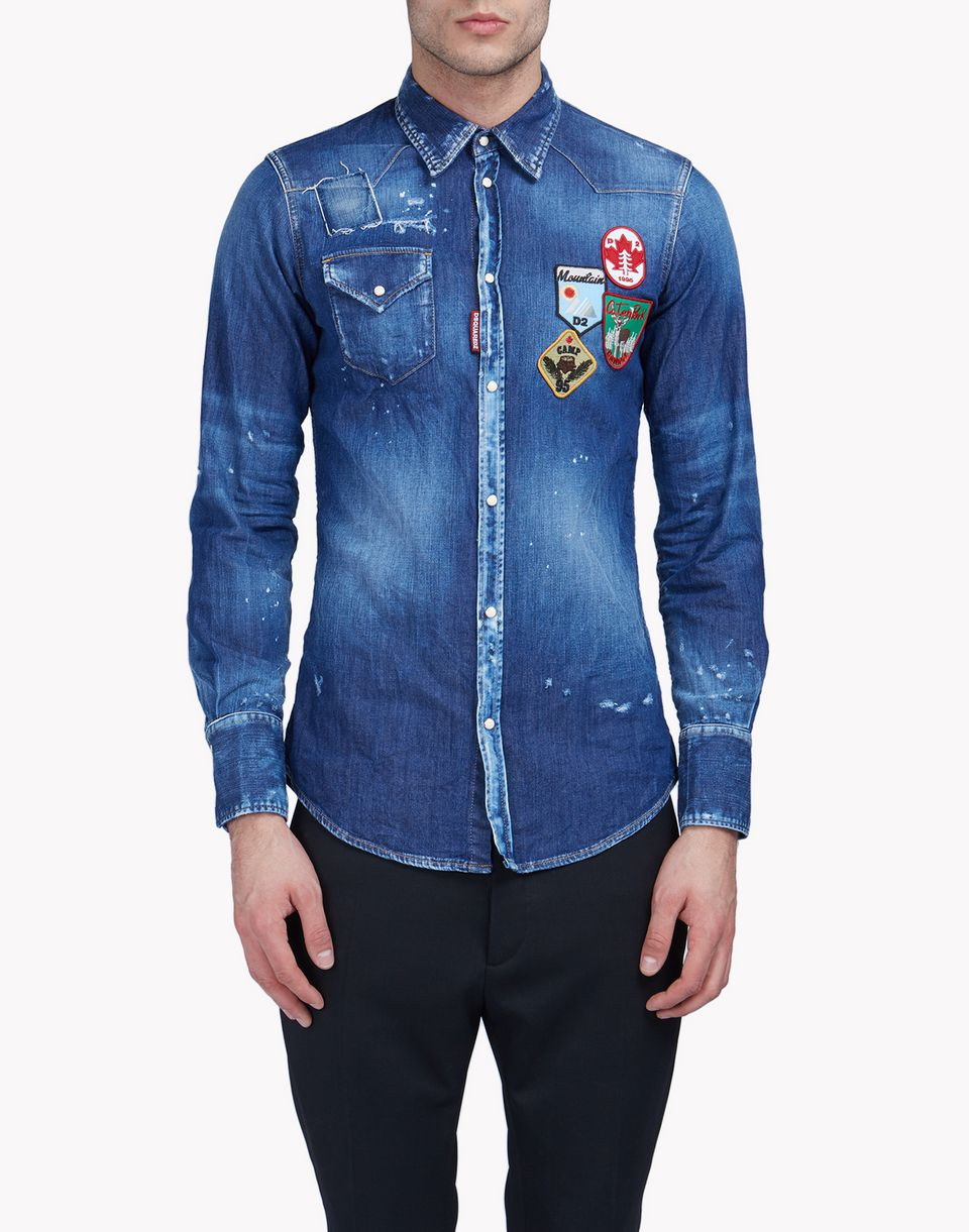 patch denim shirt hemden Herren Dsquared2