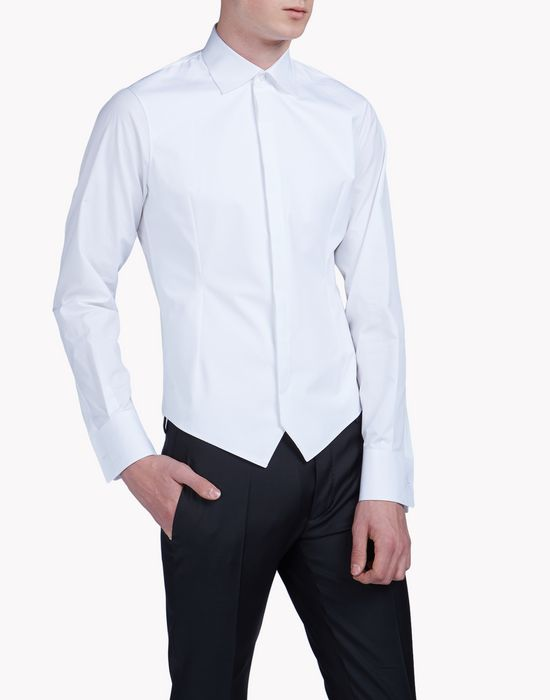 slim-fit spread collar poplin tux shirt chemises Homme Dsquared2