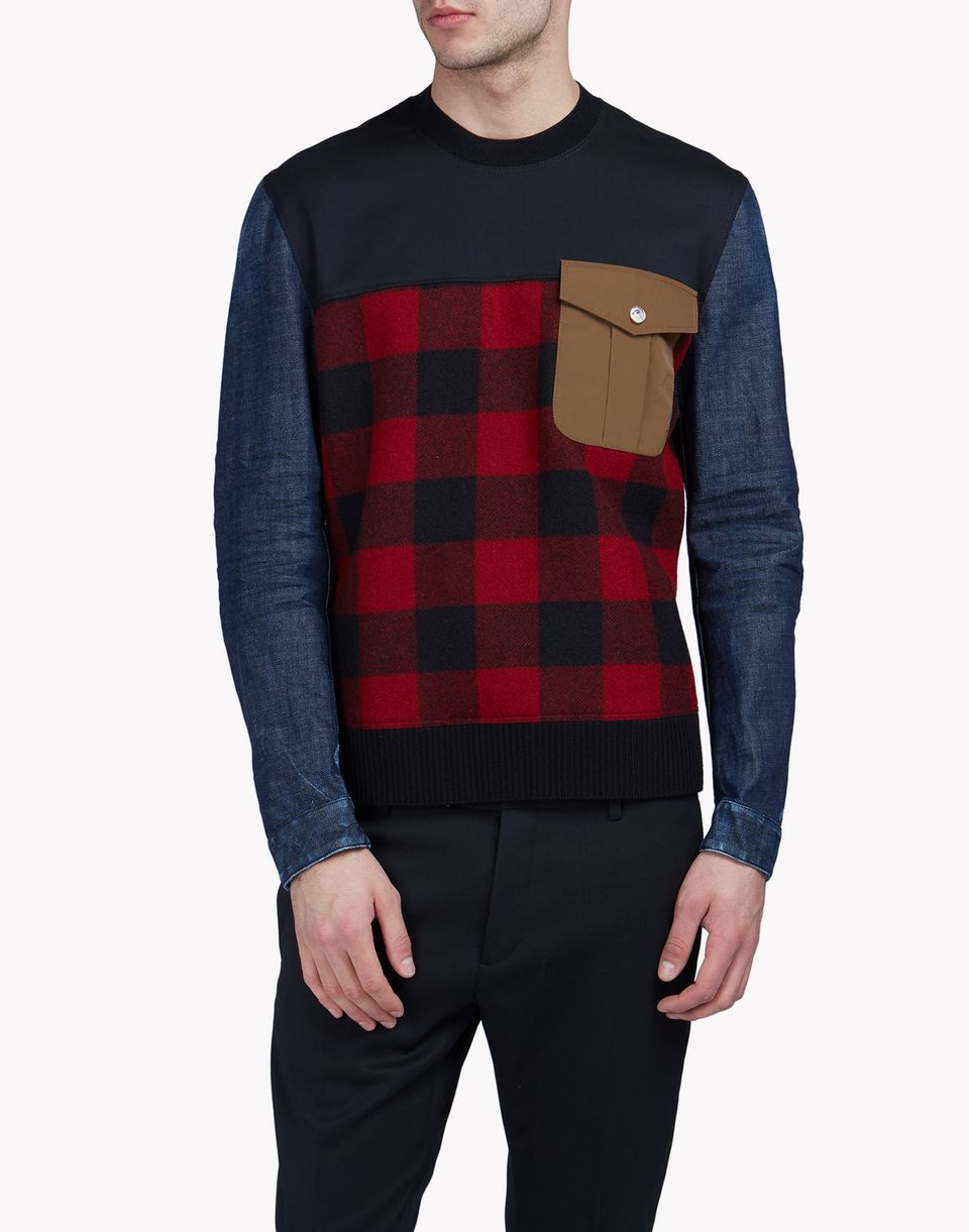 pocket check denim sweatshirt top wear Man Dsquared2