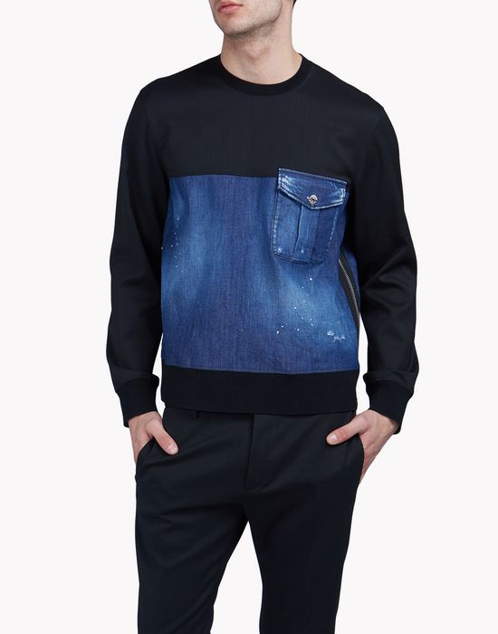 contrasted denim sweatshirt tops & tees Man Dsquared2