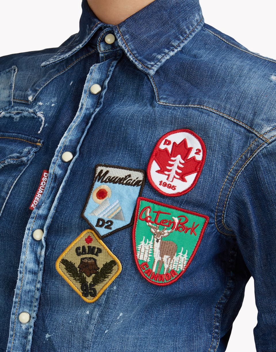 patch denim shirt shirts Woman Dsquared2
