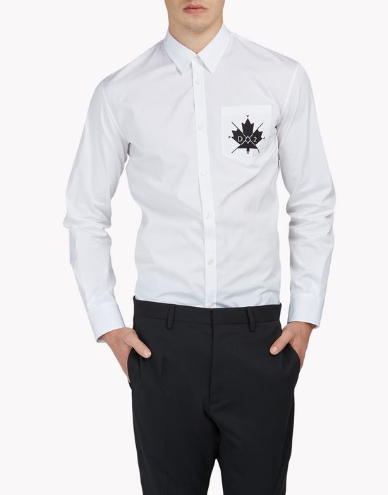 maple leaf poplin shirt shirts Man Dsquared2