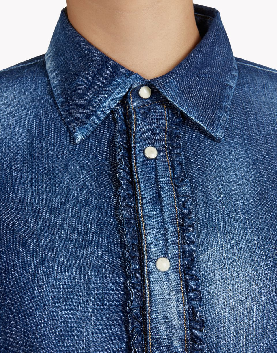denim ruffle shirt shirts Woman Dsquared2