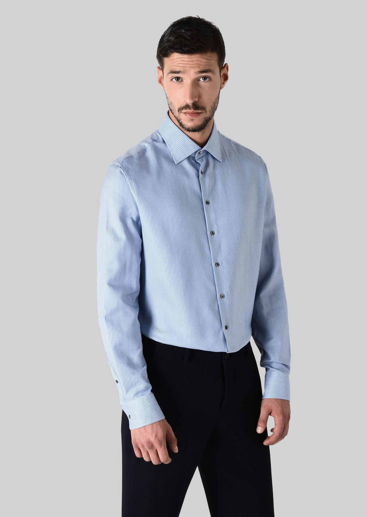 FRENCH COLLAR COTTON SHIRT: Classic Shirts Men by Armani - 0