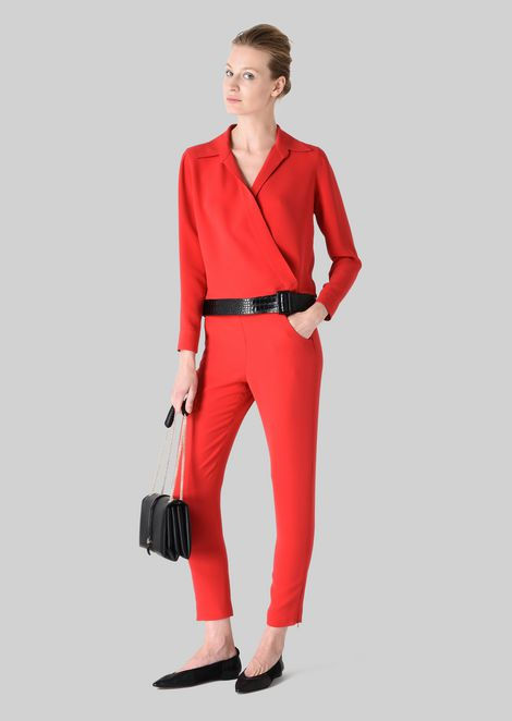 SILK SHIRT WITH BELT: Blouses Women by Armani - 1