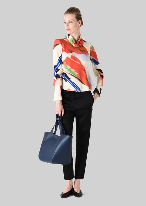 SILK BLOUSE WITH HIGH COLLAR: Blouses Women by Armani - 1