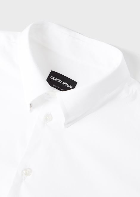 CLASSIC COLLAR STRETCH COTTON BLEND SHIRT: Casual Shirts Men by Armani - 5