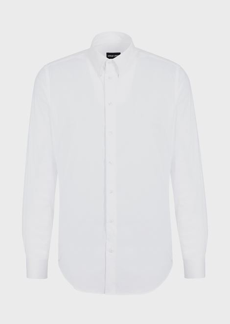 CLASSIC COLLAR STRETCH COTTON BLEND SHIRT: Casual Shirts Men by Armani - 3