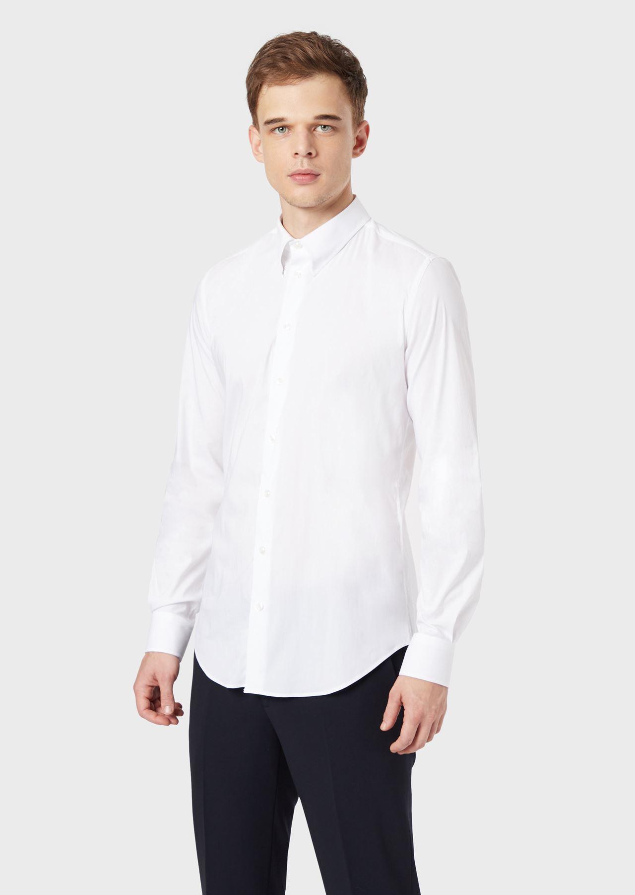 CLASSIC COLLAR STRETCH COTTON BLEND SHIRT: Casual Shirts Men by Armani - 0