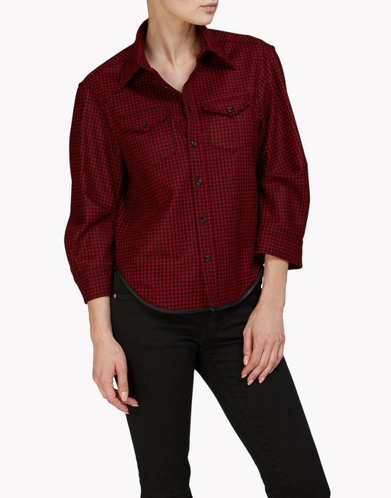 check rounded sleeve shirt shirts Woman Dsquared2