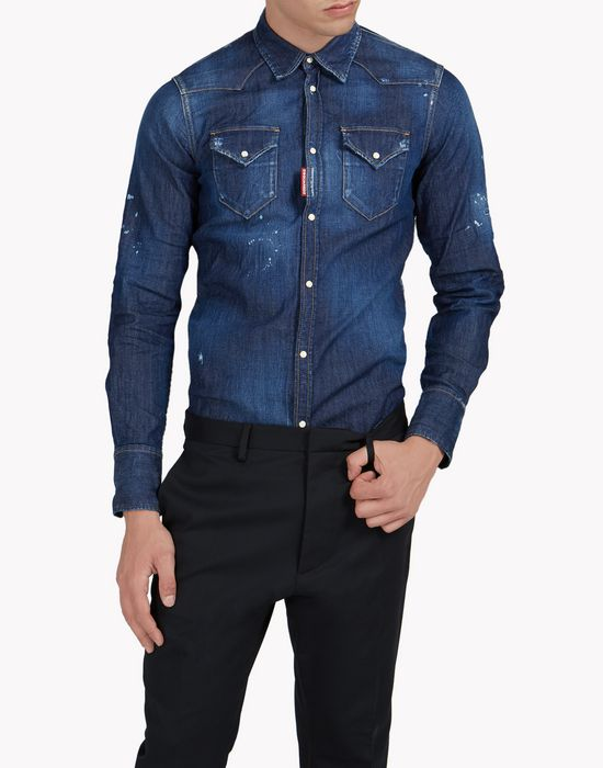 western denim shirt hemden Herren Dsquared2