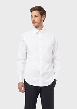Armani Classic Shirts Men french collar cotton twill shirt