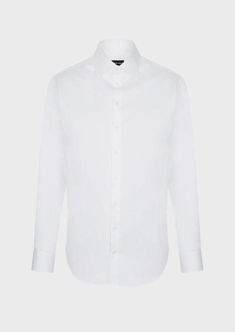 FRENCH COLLAR COTTON TWILL SHIRT: Classic Shirts Men by Armani - 1