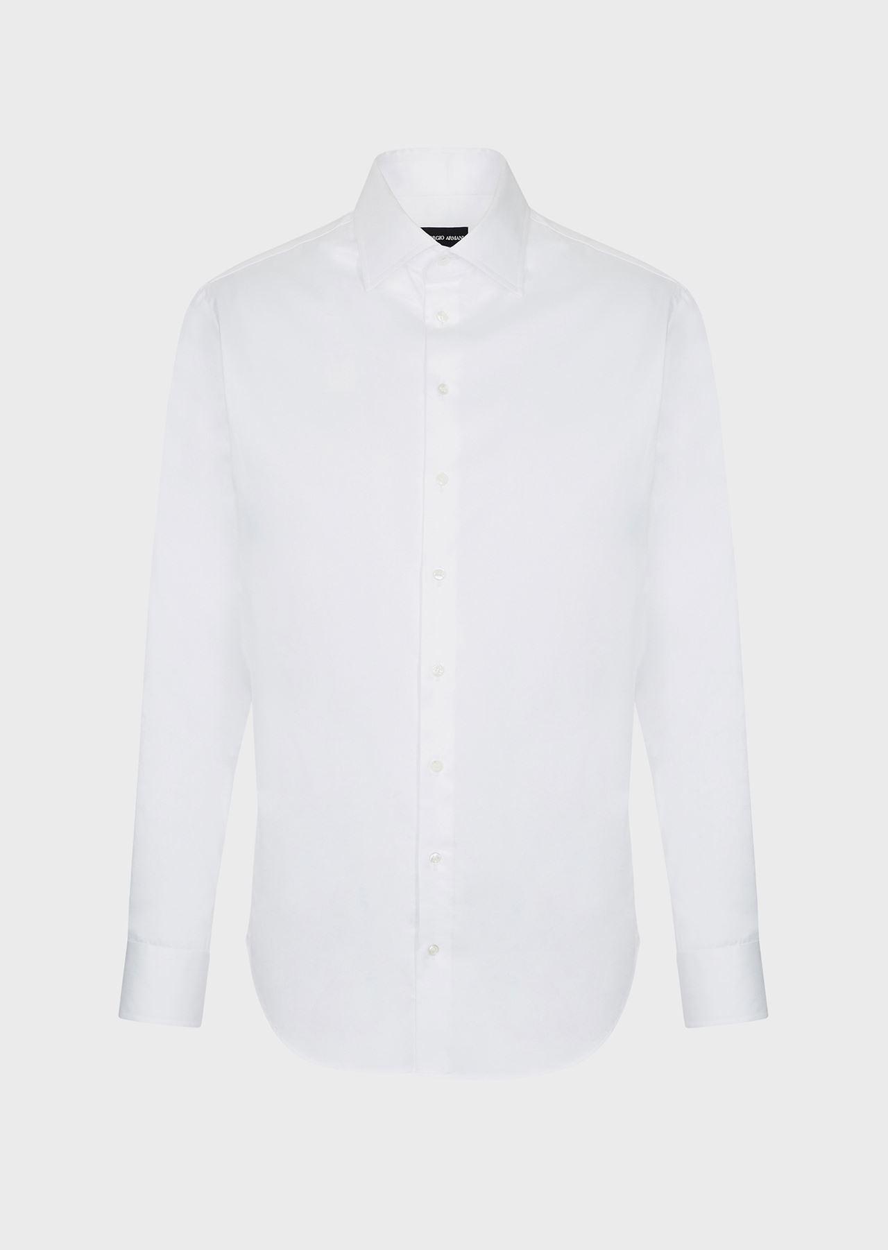 FRENCH COLLAR COTTON TWILL SHIRT: Classic Shirts Men by Armani - 0