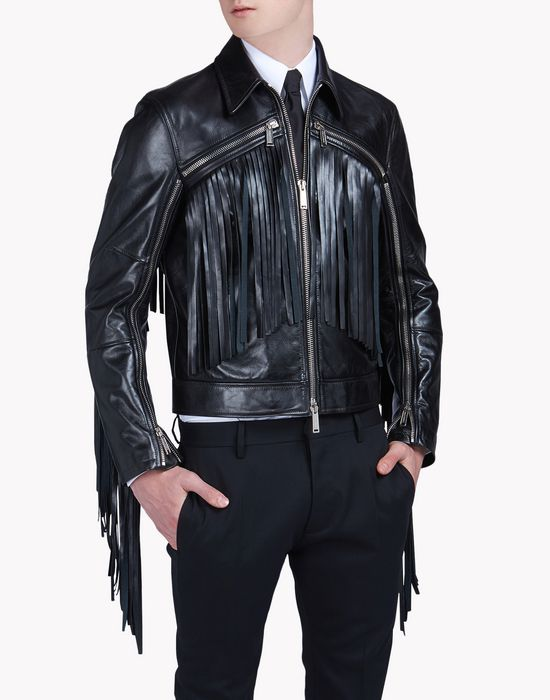 fringed leather jacket manteaux & vestes Homme Dsquared2