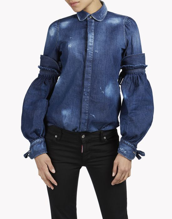 amish bonnet sleeves denim shirt chemises Femme Dsquared2