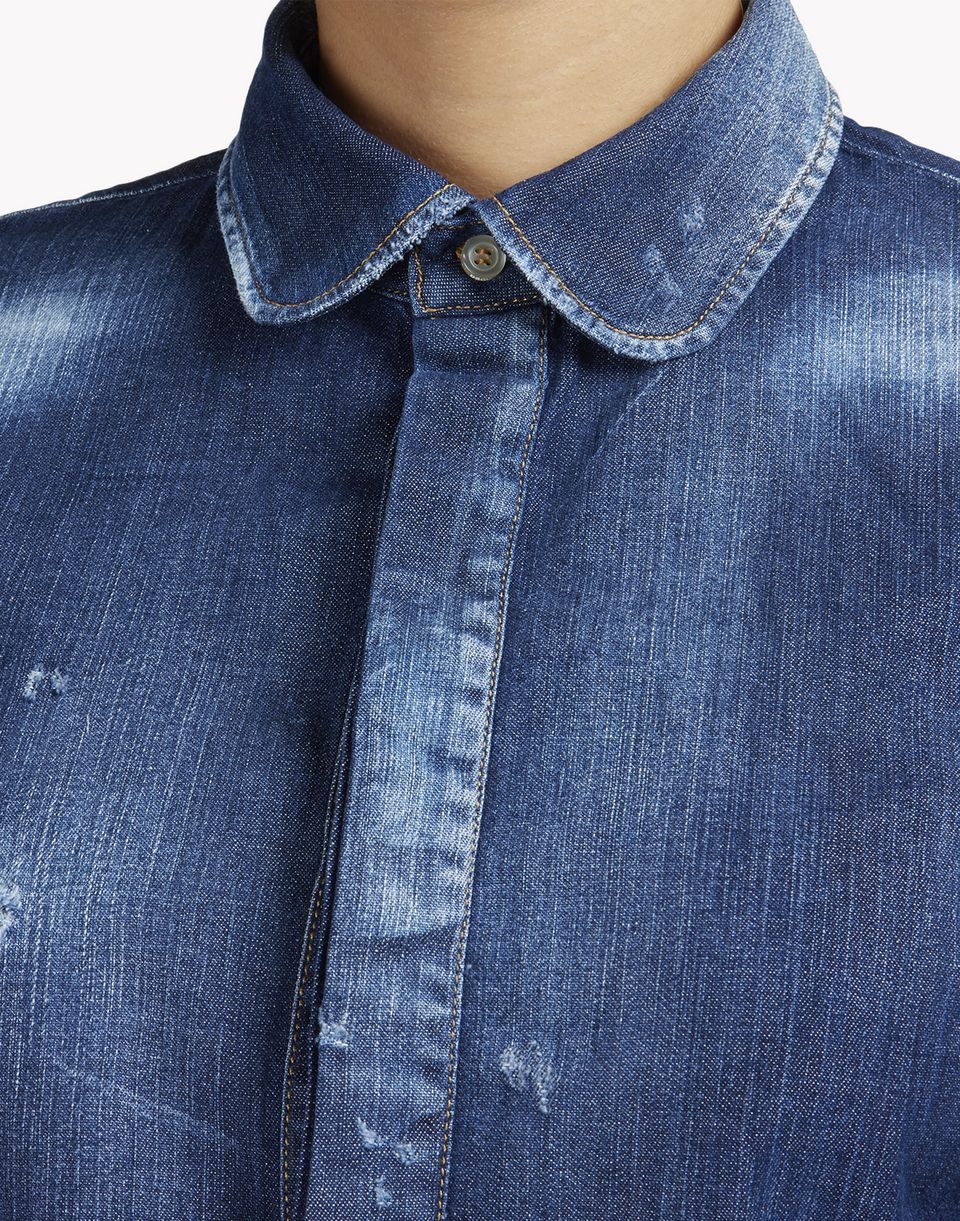 amish bonnet sleeves denim shirt shirts Woman Dsquared2