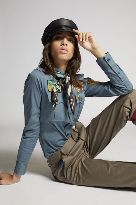 cotton twill scout patch shirt shirts Woman Dsquared2