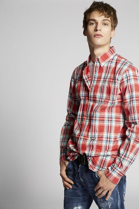 cotton check button down shirt shirts Man Dsquared2