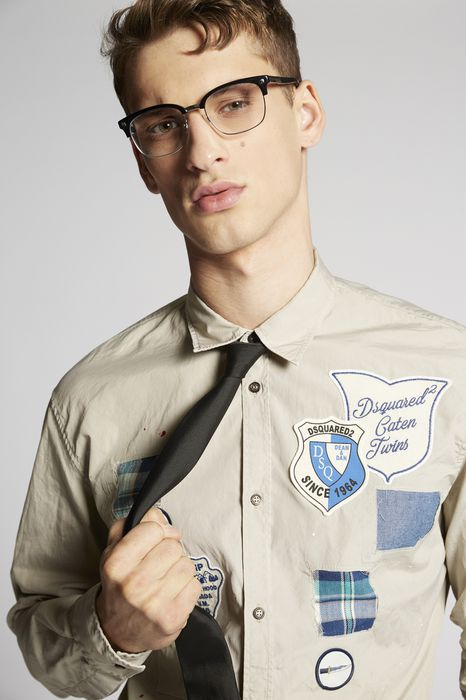 poplin patches relax dan shirt shirts Man Dsquared2