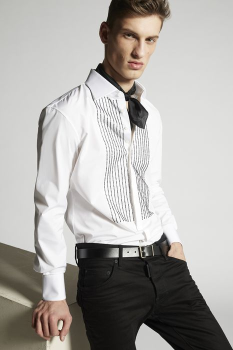 stretch poplin regular tux shirt  shirts Man Dsquared2