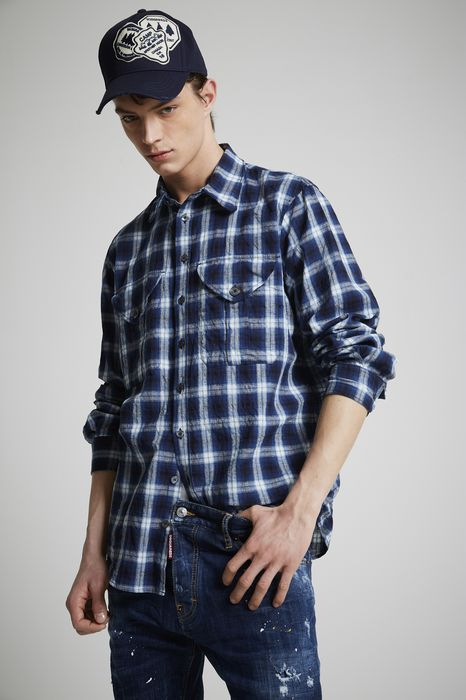 cotton check military shirt shirts Man Dsquared2