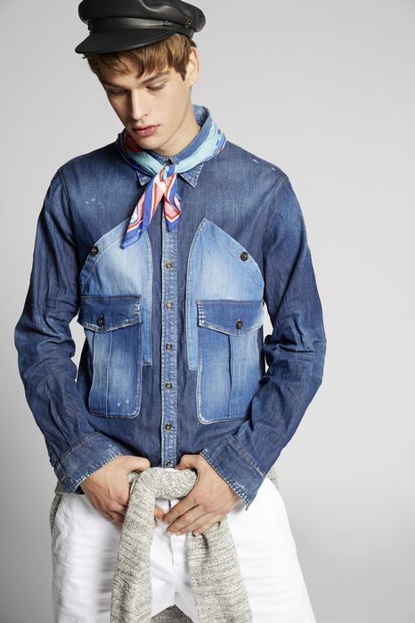 military denim shirt shirts Man Dsquared2