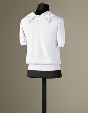 MACRAMÉ LACE COLLAR TOP - Short sleeve sweaters - Dolce&Gabbana - Winter 2016