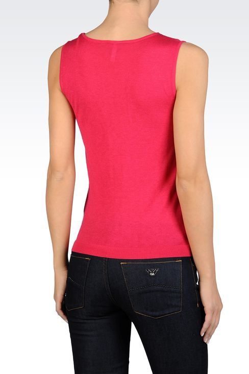 SLEEVELESS TOP WITH TULLE DETAIL: Crewneck sweaters Women by Armani - 2