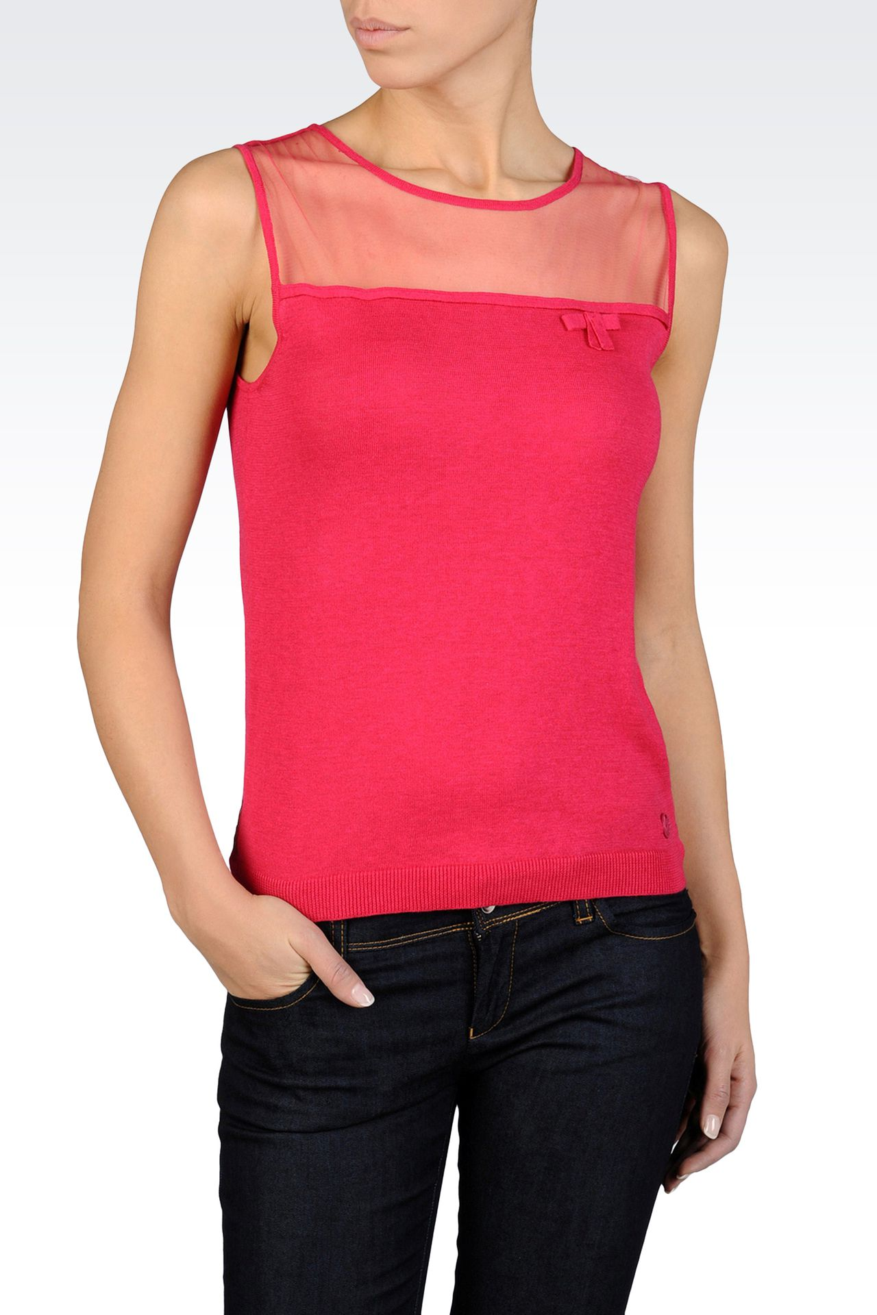 SLEEVELESS TOP WITH TULLE DETAIL: Crewneck sweaters Women by Armani - 0
