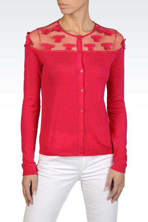 CARDIGAN IN COTTON AND VISCOSE WITH TULLE DETAILS: Cardigans Women by Armani - 1