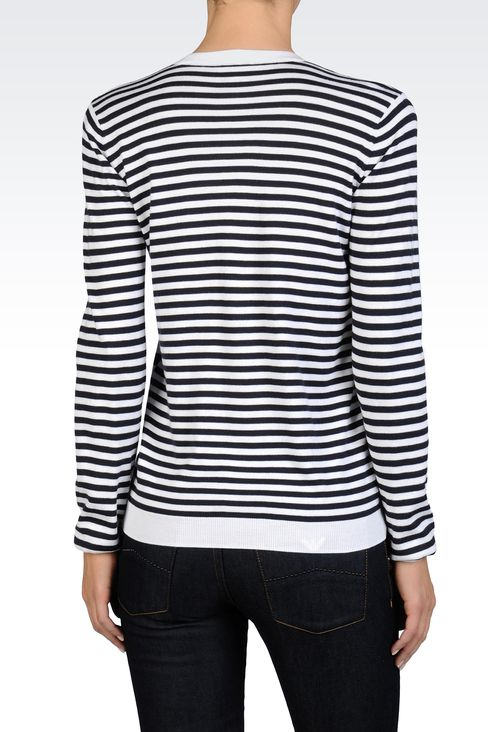 STRIPED CARDIGAN IN LIGHTWEIGHT MODAL COTTON: Cardigans Women by Armani - 2
