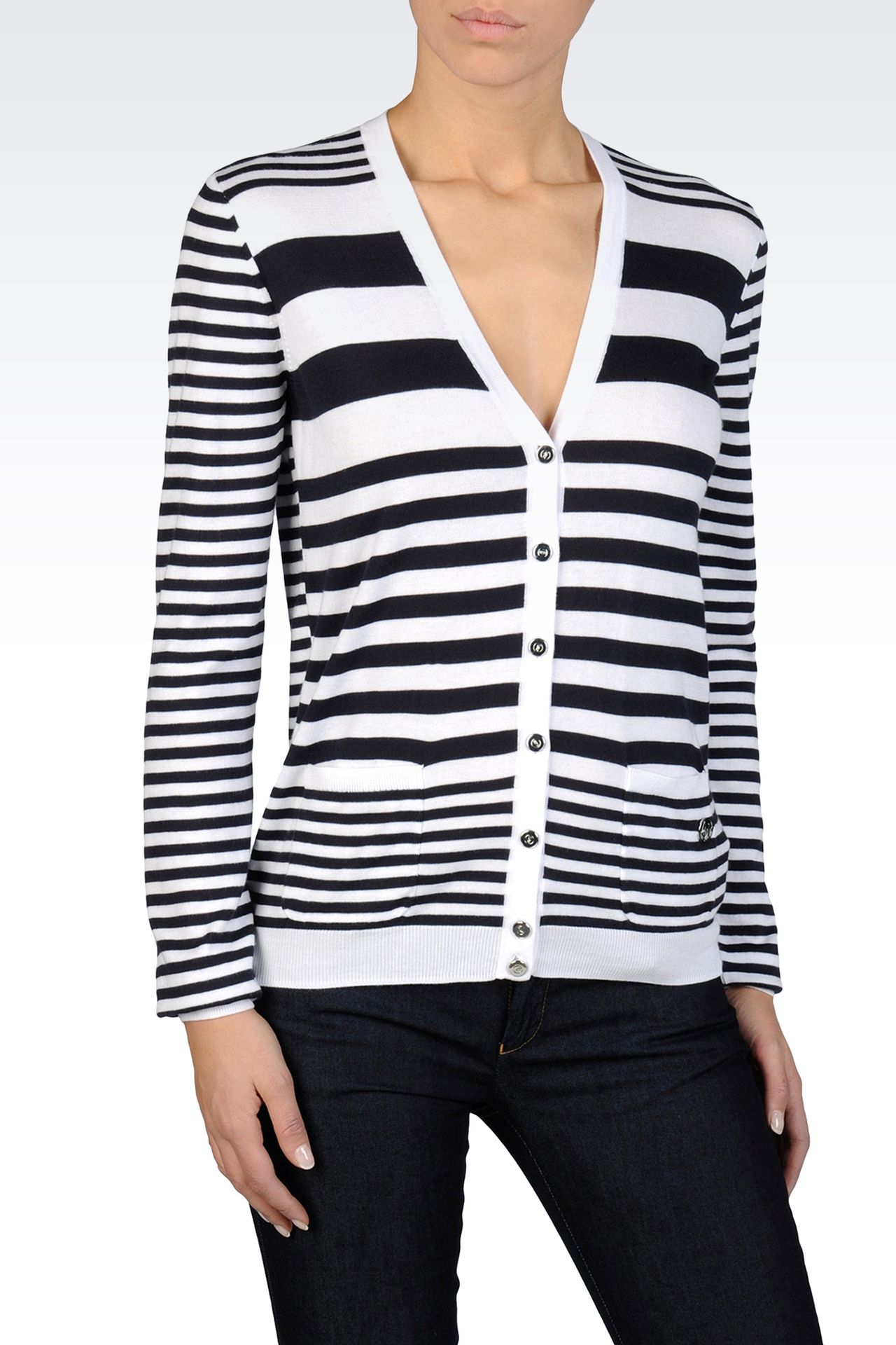 STRIPED CARDIGAN IN LIGHTWEIGHT MODAL COTTON: Cardigans Women by Armani - 0