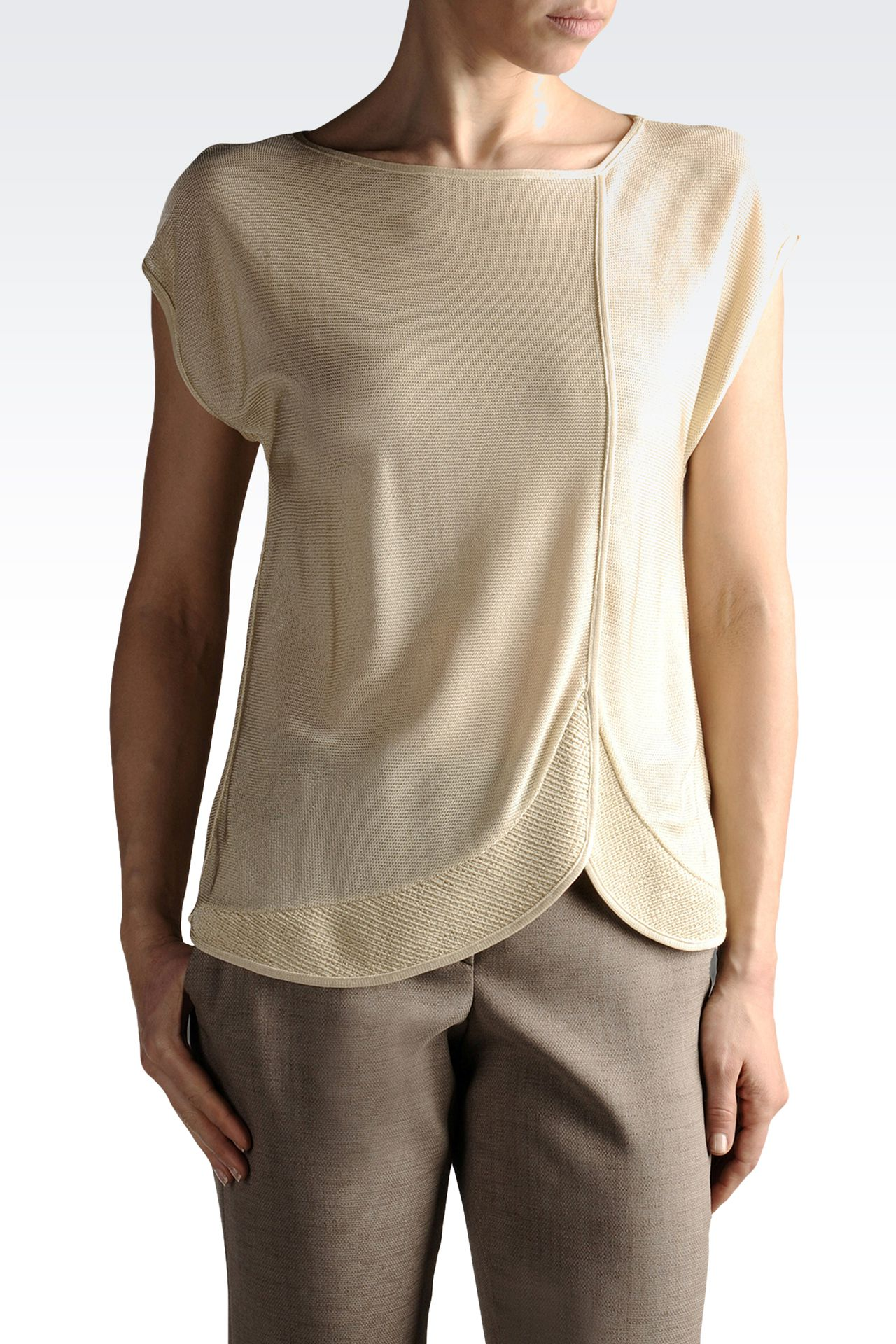 short-sleeved knit in viscose: Crewneck sweaters Women by Armani - 0