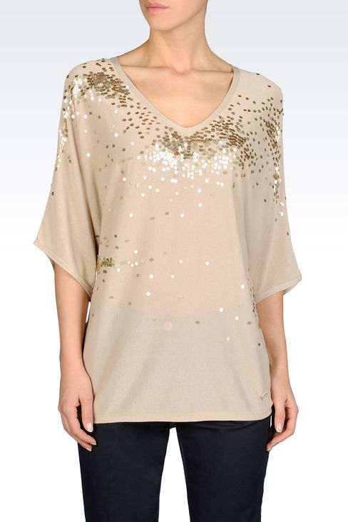 BATWING SWEATER WITH SEQUINS: V  neck sweaters Women by Armani - 1